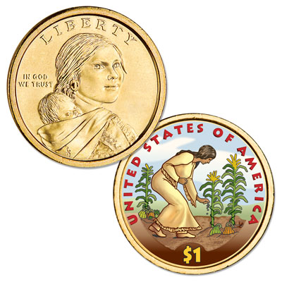 Image for 2009 Native American Dollar with Colorized Reverse from Littleton Coin Company