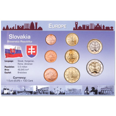 Image for Slovakia Coin Set in Custom Holder from Littleton Coin Company