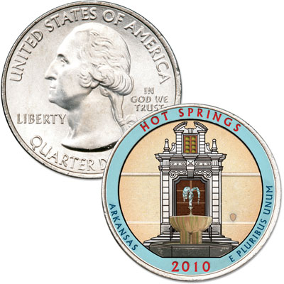 Image for 2010 Colorized Hot Springs National Park Quarter from Littleton Coin Company