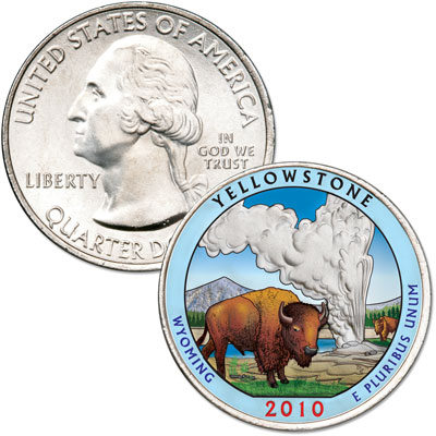 Image for 2010 Colorized Yellowstone National Park Quarter from Littleton Coin Company