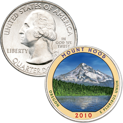 Image for 2010 Colorized Mount Hood National Forest Quarter from Littleton Coin Company