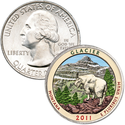 Image for 2011 Colorized Glacier National Park Quarter from Littleton Coin Company