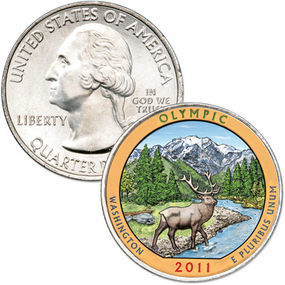 Image for 2011 Colorized Olympic National Park Quarter from Littleton Coin Company