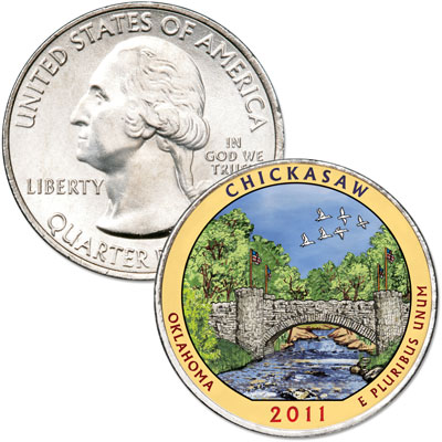 Image for 2011 Colorized Chickasaw National Park Quarter from Littleton Coin Company
