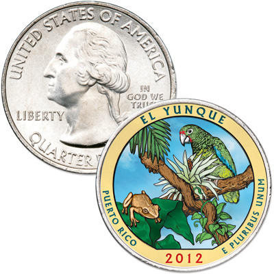 Image for 2012 Colorized El Yunque National Forest Quarter from Littleton Coin Company