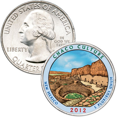 Image for 2012 Colorized Chaco Culture National Historical Park Quarter from Littleton Coin Company