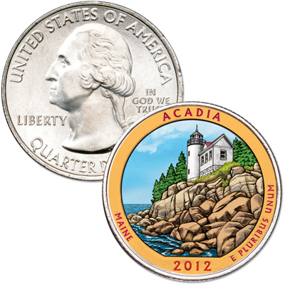 Image for 2012 Colorized Acadia National Park Quarter from Littleton Coin Company