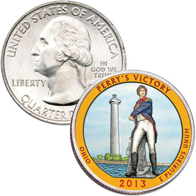 Image for 2013 Colorized Perry's Victory & International Peace Memorial Quarter from Littleton Coin Company