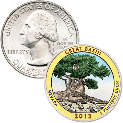 Image for 2013 Colorized Great Basin National Park Quarter from Littleton Coin Company