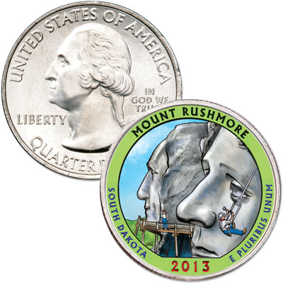 Image for 2013 Colorized Mount Rushmore National Memorial Quarter from Littleton Coin Company