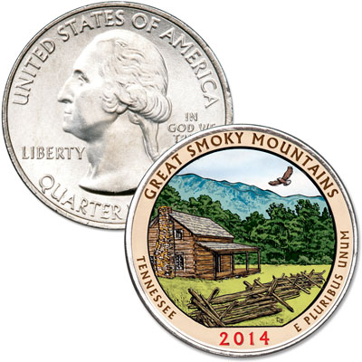 Image for 2014 Colorized Great Smoky Mountains National Park Quarter from Littleton Coin Company