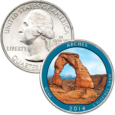 Image for 2014 Colorized Arches National Park Quarter from Littleton Coin Company