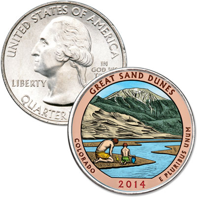 Image for 2014 Colorized Great Sand Dunes National Park Quarter from Littleton Coin Company