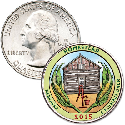 Image for 2015 Colorized Homestead National Monument of America Quarter from Littleton Coin Company