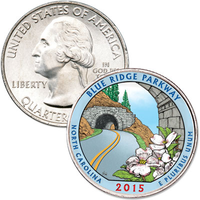Image for 2015 Colorized Blue Ridge Parkway Quarter from Littleton Coin Company
