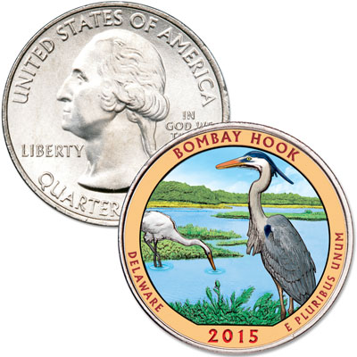 Image for 2015 Colorized Bombay Hook National Wildlife Refuge Quarter from Littleton Coin Company