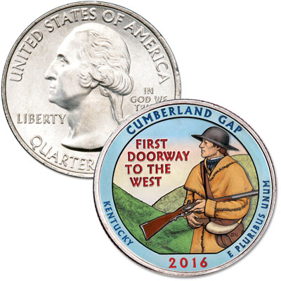 Image for 2016 Colorized Cumberland Gap National Historical Park Quarter from Littleton Coin Company