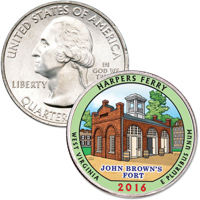 Image for 2016 Colorized Harpers Ferry National Historical Park Quarter from Littleton Coin Company