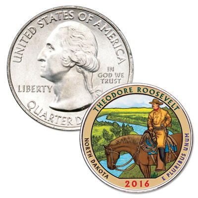 Image for 2016 Colorized Theodore Roosevelt National Park Quarter from Littleton Coin Company