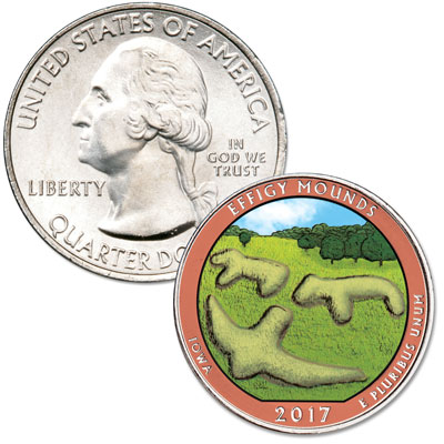 Image for 2017 Colorized Effigy Mounds National Monument Quarter from Littleton Coin Company