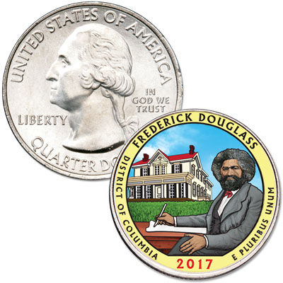 Image for 2017 Colorized Frederick Douglass National Historic Site Quarter from Littleton Coin Company