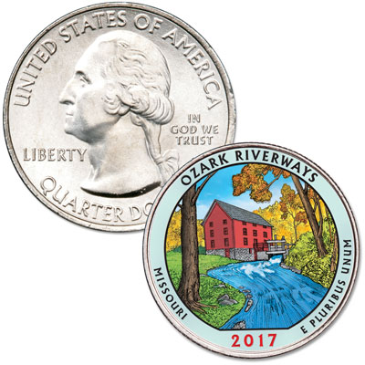 Image for 2017 Colorized Ozark National Scenic Riverways Quarter from Littleton Coin Company