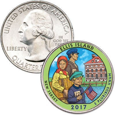 Image for 2017 Colorized 2017 Ellis Island National Monument (Statue of Liberty) Quarter from Littleton Coin Company