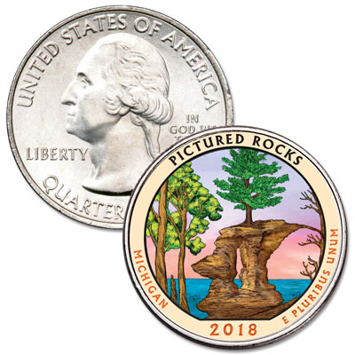 Image for 2018 Colorized Pictured Rocks National Lakeshore Quarter from Littleton Coin Company