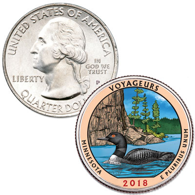 Image for 2018 Colorized Voyageurs National Park Quarter from Littleton Coin Company
