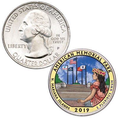Image for 2019 Colorized American Memorial Park Quarter from Littleton Coin Company
