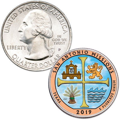 Image for 2019 Colorized San Antonio Missions National Historical Park Quarter from Littleton Coin Company