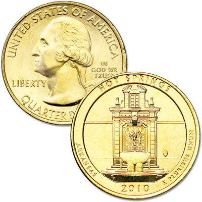 Image for 2010 Gold-Plated Hot Springs National Park Quarter from Littleton Coin Company