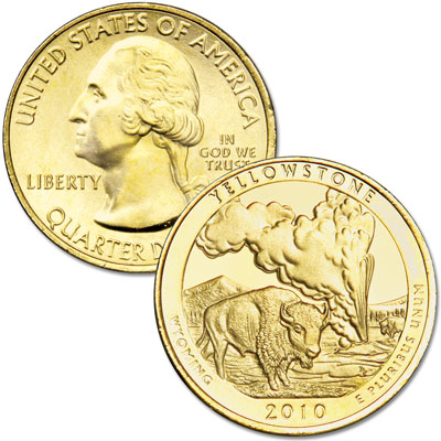 Image for 2010 Gold-Plated Yellowstone America's National Park Quarter from Littleton Coin Company