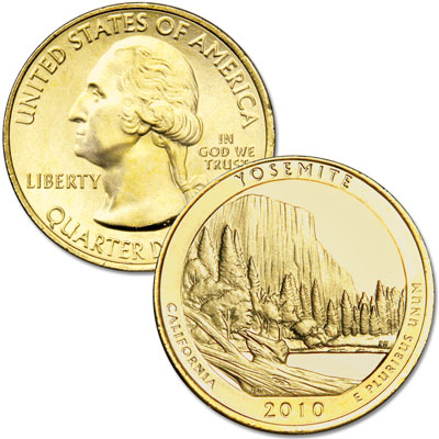 Image for 2010 Gold-Plated Yosemite National Park Quarter from Littleton Coin Company