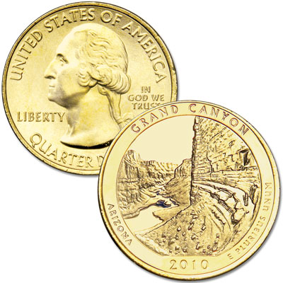 Image for 2010 Gold-Plated Grand Canyon National Park Quarter from Littleton Coin Company
