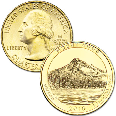Image for 2010 Gold-Plated Mount Hood National Forest Quarter from Littleton Coin Company