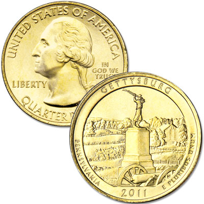 Image for 2011 Gold-Plated Gettysburg National Park Quarter from Littleton Coin Company