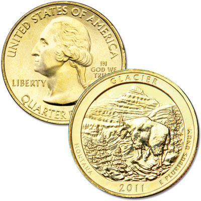 Image for 2011 Gold-Plated Glacier National Park Quarter from Littleton Coin Company