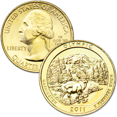 Image for 2011 Gold-Plated Olympic National Park Quarter from Littleton Coin Company