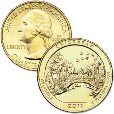 Image for 2011 Gold-Plated Chickasaw National Park Quarter from Littleton Coin Company