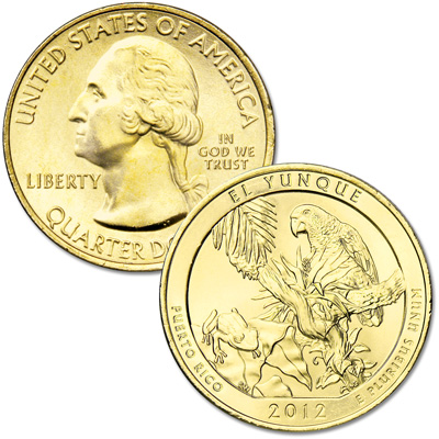Image for 2012 Gold-Plated El Yunque National Forest Quarter from Littleton Coin Company