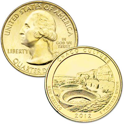 Image for 2012 Gold-Plated Chaco Culture National Historical Park Quarter from Littleton Coin Company