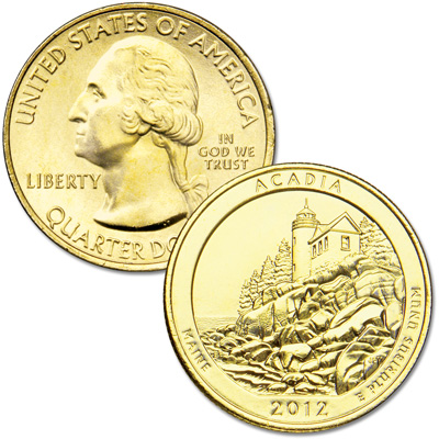 Image for 2012 Gold-Plated Acadia National Park Quarter from Littleton Coin Company
