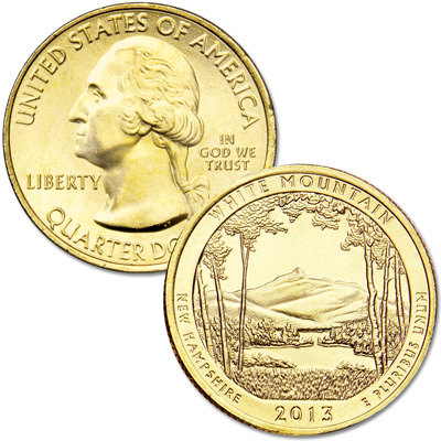 Image for 2013 Gold-Plated White Mountain National Forest Quarter from Littleton Coin Company