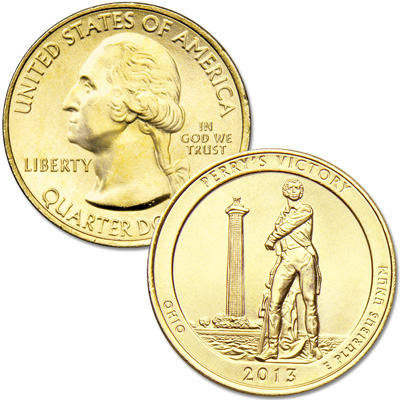 Image for 2013 Gold-Plated Perry's Victory and Intl. Peace Memorial Quarter from Littleton Coin Company