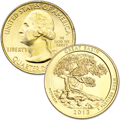 Image for 2013 Gold-Plated Great Basin National Park Quarter from Littleton Coin Company