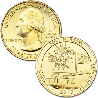 Image for 2013 Gold-Plated Fort McHenry National Monument and Historic Shrine Quarter from Littleton Coin Company