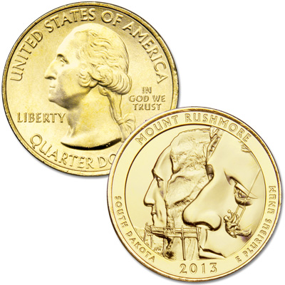 Image for 2013 Gold-Plated Mount Rushmore National Memorial Quarter from Littleton Coin Company