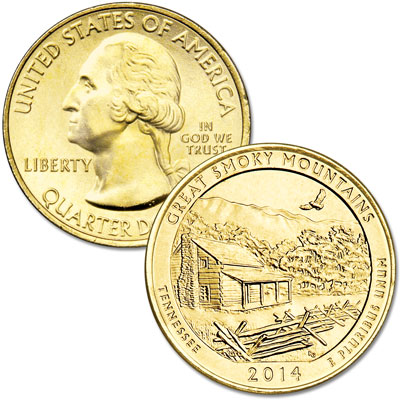 Image for 2014 Gold-Plated Great Smoky Mountains National Park Quarter from Littleton Coin Company