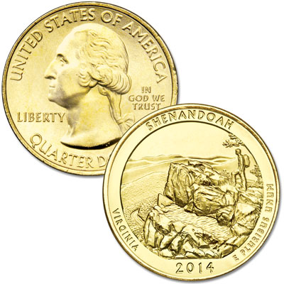Image for 2014 Gold-Plated Shenandoah National Park Quarter from Littleton Coin Company